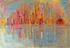 Colours of the city / Couleurs de la ville - Painting,  100x70x2 cm ©2015 przez Maga Smolik -  Malarstwo