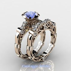 Caravaggio 14K Rose Gold 1.25 Ct Light Blue Sapphire Diamond Engagement Ring Wedding Band Set R623S-14KRGDNLBS | Art Masters Jewelry