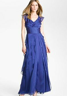 """Love this style for a """"Mom-of-the-Bride"""" Dress….Obviously wrong color, but looks fun….just thinking of ideas.Adrianna Papell Tiered Chiffon Gown (Regular & Petite) available at Evening Dresses With Sleeves, Chiffon Evening Dresses, Mob Dresses, Chiffon Gown, Evening Gowns, Fashion Dresses, Formal Dresses, Bridal Party Dresses, Wedding Dresses"""