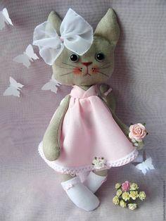 Купить Кошка Розочка - бледно-розовый, кошка, кошка игрушка, кошка в подарок, кошка тильда