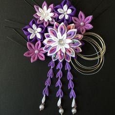ムラサキの菊❤︎つまみ細工の髪飾り