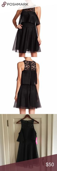 """BETSEY JOHNSON - Black Lace & Mesh Flare Dress 6 S BETSEY JOHNSON Black Lace & Mesh Fit & Flare Dress  Size 6 / Small Brand New With Tags! Retail: $168.00  Measurements (flat): Waist - 14"""" Bust - 17.75"""" Length - 36""""  100% Polyester  Bundles Welcome! NO PAYPAL! Please allow 2 days handling!  Thank you! 😊 Betsey Johnson Dresses"""