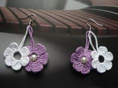 These earrings are hand crocheted with an fine 100% cotton thread. Appropriate for both day or evening dress. The length is approximately 2 / 5 cm / SHIPPING: *Your purchase will be sent within 1 to 2 working days after payment is received. Exceptions are only for national holidays and weekends. I will confirm the dispatch of your order by e-mail. Please check your shipping address. I cannot be responsible for an incorrect address. I ship via Bulgarian Posts with registered air ma...