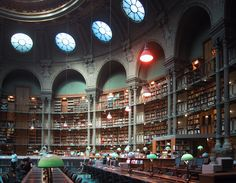 Bibliotheque Nationale de France in Paris, France  The National Library of France traces its origin to the royal library founded at the Louvre by Charles V in 1368. It expanded under Louis XIVand opened to the public in 1692.