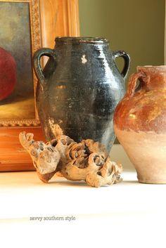 gorgeous old olive jar