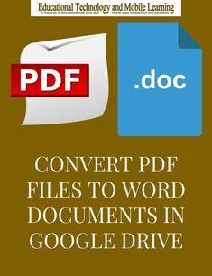 There are different ways to convert PDF files to Word documents. Free Web tools are just a waste of Computer Basics, Computer Tips, Educational Technology, Technology Tools, Medical Technology, Energy Technology, Google Tricks, School Secretary, Apps For Teachers
