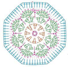 Transcendent Crochet a Solid Granny Square Ideas. Inconceivable Crochet a Solid Granny Square Ideas. Crochet Squares, Point Granny Au Crochet, Hexagon Crochet Pattern, Crochet Blocks, Crochet Flower Patterns, Crochet Diagram, Crochet Chart, Pattern Flower, Flower Crochet
