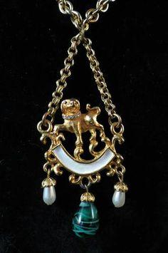 1960's Vtg Kenneth Lane Foo Dog Asian Inspired Pendant Necklace Orginal Tag   eBay Sold for $ 71