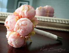 Blush Pink Peony Wedding Bouquet  Peony Bud Bouquet by KateSaidYes, $50.00