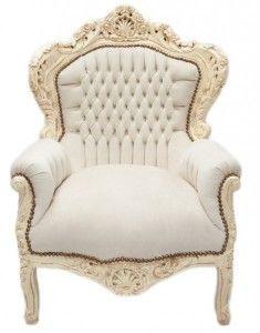 "Casa Padrino Barock Sessel ""King"" Creme/Creme Samtstoff - Möbel Antik Stil Sessel Modell ""King"""