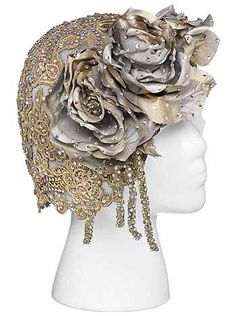 Avant-Garde Bridal | the avant garde bride silver lace juliet cap on gold crinoline base by ...