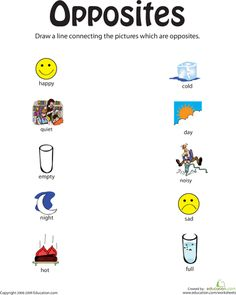 Worksheets: Identifying Opposites: From Happy to Full