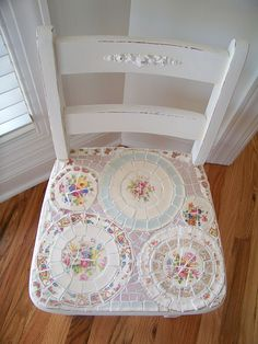 recycle your old chair with broken china