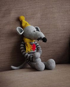 crochet rat / stuffed animal friend / amigurumi toy / gray