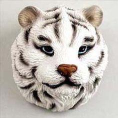 Stone Resin White Tiger Magnet