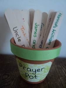 Prayer pot: put prayer requests (family names/pictures and some specific requests) on tongue depressors, in a pot, then choose a few at the end of circle time daily!