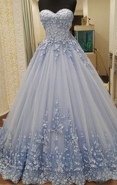 Appliques Ball Gowns Prom Dresses,Lace Up Prom Dresses,Blue