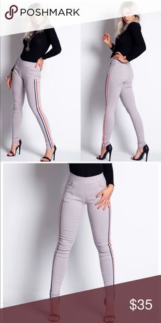 Grey Side Striped Panel Jeggings Trend Figure Hugging Jeggings  Elasticated waistband with stripe Available in different colors  Soft and Stretchy  S/M- 4-6 L/XL- 8-10 Approx length: 38 Inches  70% Cotton 20% Polyamide 10% Elastane Amirah Pants Leggings