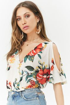 Product Name:Floral Slub Knit Surplice Open-Shoulder Top, Category:Sale,Most Wanted Prints Blouse Styles, Blouse Designs, Sewing Blouses, Casual Outfits, Fashion Outfits, Casual Tops, Types Of Sleeves, Dress Patterns, Blouses For Women