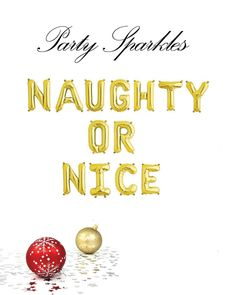 """Naughty or Nice balloons, gold or silver Naughty or Nice balloons, Funny Christmas balloons, 14"""" Balloon Banner for Christmas by PartySparkles on Etsy"""