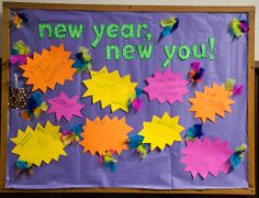 New Years bulletin board Guidance Bulletin Boards, Work Bulletin Boards, Ra Door Tags, Ra Boards, Time To Celebrate, Board Ideas, Seasons, Activities, Crafts