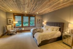 Master suite with blue cedar ceiling.