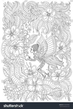 Fantasy Butterfly Pixie With Teapot In Blooming Garden Adult Coloring Page Davlin Publishing