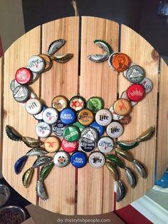 40 DIY Bottle Cap Craft Ideas: Creative Bottle Cap and Plastic Lid Arts – Diy Tutorials Diy Bottle Cap Crafts, Beer Cap Crafts, Bottle Cap Projects, Bottle Cap Art, Mason Jar Crafts, Bottle Stopper, Beer Cap Art, Beer Caps, Beer Bottle Caps