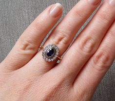 Antique Sapphire and Diamond Engagement Ring Halo by PenelliBelle