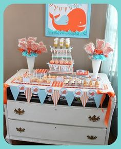 Orange and Blue Whale Baby Shower