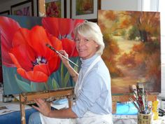 """""""Teaching means you're not serious about your art practice..."""" What bullcrap - teaching can be a rich and rewarding addition to your art biz.   Marianne teaching How to Paint Soft Poppies."""