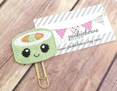 Kawaii/Sushi Roll/Felt Applique Paper Clip/Planner Clip/Bookmark/Journal Marker by pinkiebows on Etsy
