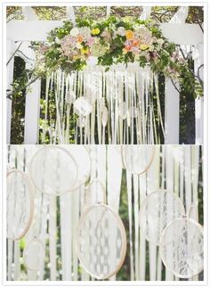 pretty lace hoops and flowers -ceremony arch backdrop