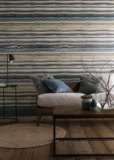 This Mineral Jade wallpaper draws inspiration from the beauty of layered teal agate to bring home an organic, understated luxurious effect. Tartan Wallpaper, Wall Wallpaper, Foil Highlights, Dado Rail, Stunning Wallpapers, Rock Design, High Quality Wallpapers, Ceiling Decor, Modern Family
