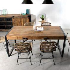 Table avec plateau bois et pied métal avec rallonges