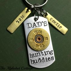 Dad's Hunting Buddies Keychain--Keychain for Dad--Gift for Dad--Father's Day--To Dad from Kids--Gift from Wife--Gift for Hunter--Kid's Names
