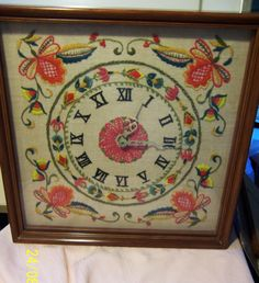 1970's Floral Crewel Embroidery Clock
