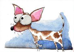 ACEO Original watercolor whimsical art painting animal dog staring Chihuahua #Folkartillustration
