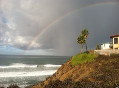 Rainbow over the ocean @ Fletcher Cove Park