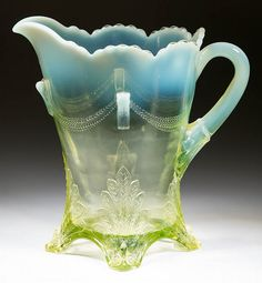 1904 Jefferson Glass Vaseline Swag and Brackets Pitcher