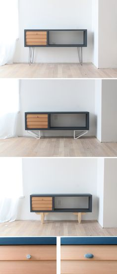 This DIY Media Console is made out of a 2x12 and angle irons and the ...