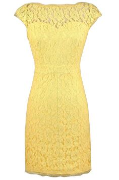 Time and Lace Pencil Dress in Bright Yellow  www.lilyboutique.com