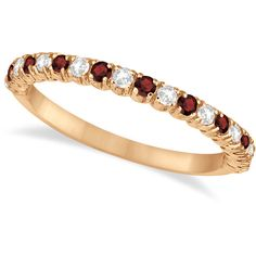 Allurez Garnet & Diamond Wedding Band Anniversary Ring in 14k Rose... ($680) ❤ liked on Polyvore featuring jewelry, rings, garnet ring, diamond anniversary rings, rose gold rings, rose gold eternity ring and anniversary rings