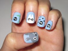 Totoro Nails...so gotta learn how to do this. Big totoro, small totoro, and the soot gremlins! :)
