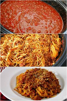 Slow Cooker Spaghetti with Meat Sauce Yes you can cook spaghetti in your slow cooker! Make a slow cooker spaghetti sauce with meat and let it simmer. Add in pasta during the last 30 minutes for an easy delicious dinner that's perfect for potlucks! Slow Cooker Spaghetti Sauce, Homemade Spaghetti Sauce, Spaghetti Recipes, Crock Pot Spaghetti, Haitian Spaghetti Recipe, Slow Cooked Meals, Crock Pot Slow Cooker, Crock Pot Cooking, Cooker Recipes