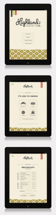 Mobile design : Highland Bakery by Stephanie Toole, via Behance Layout Design, Web Layout, Menu Design, Kiosk Design, Web Design Trends, Web Ui Design, Gui Interface, Interface Design, Website Design Inspiration