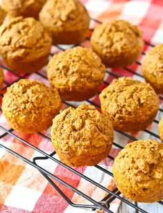 Pumpkin Bran Muffins - all the flavors of fall and pumpkin spice, in a healthy muffin. Perfect for breakfast or snacking. Get the easy recipe on RachelCooks.com!