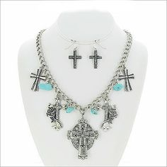 Necklace & Earrings Set Western Silver Cross Rose Turquoise Chain Charm Women #DaVinci