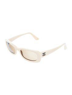 90s Y2K Chanel crema / bianco rettangolare gatto quadrato