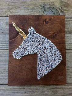 Unicorn Handmade Rustic Wood String and Nail Art Sign